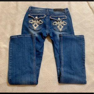 LA IDOL jeweled embellished jeans